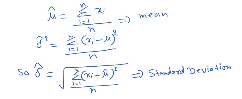 mean and standard deviation (Maximum likelihood estimation.)